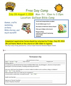 Day Camp Flyer 2014